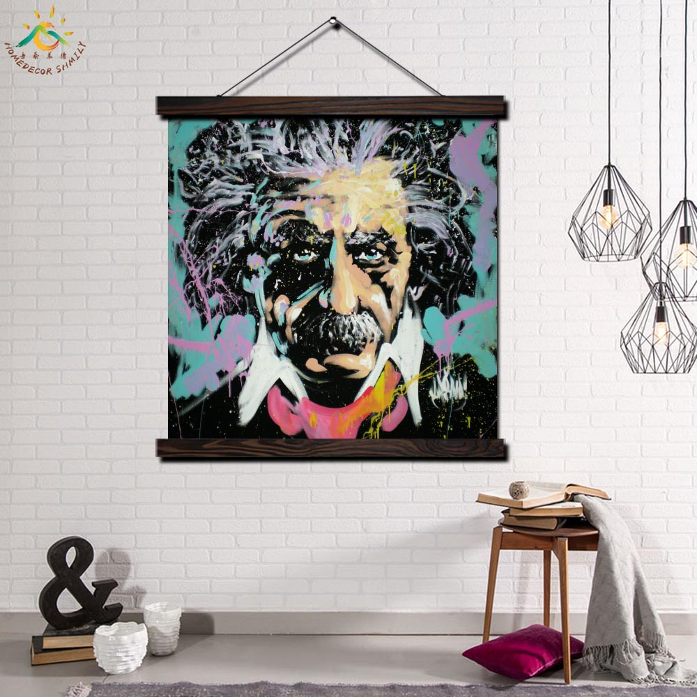 Einstein Single Framed Scroll Painting Modern Canvas Art Prints Poster Wall  Artwork Pictures Home Decor