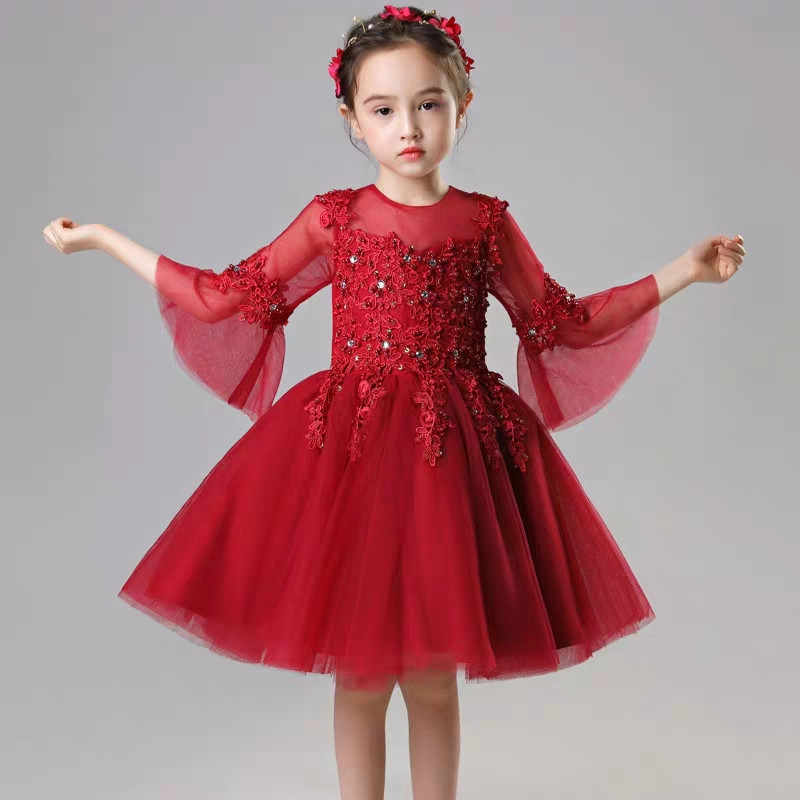 3~14Years Kids Toddler Baby Luxury Embroidery Lace Beading Wedding Birthday Party Prom Dress Children Piano Host Tutu Mesh Dress3~14Years Kids Toddler Baby Luxury Embroidery Lace Beading Wedding Birthday Party Prom Dress Children Piano Host Tutu Mesh Dress