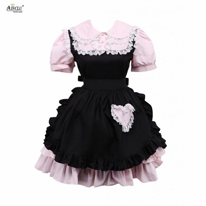 Ainclu Cemavin Womens Girls Cotton Pink And Black Lace Ruffles Sweet Cute Defined Waist A-line Lolita Dress For Party/Casual