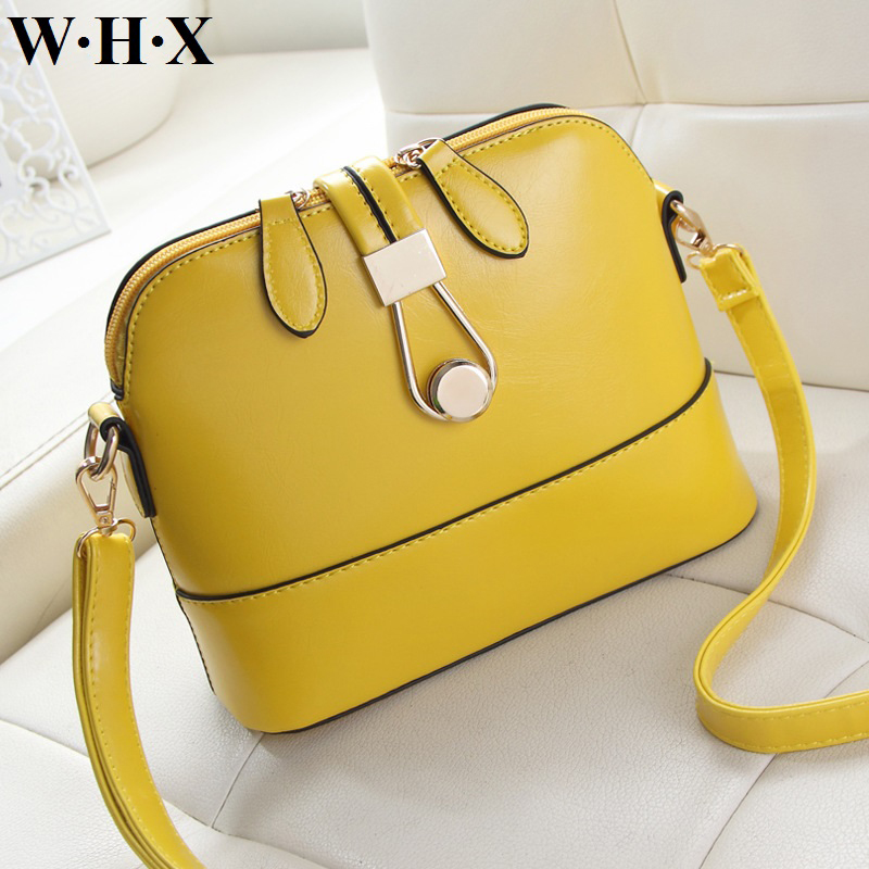 WHX Yellow Shell Bag New Fashion Classics Style Women Messenger Bag Pu Leather Women Handbag Female Shoulder Crossbody Bags HOT whx new style casual fashion women tote bag crossbody bag female shoulder messenger bag leather cartoon cat bear sequin handbag