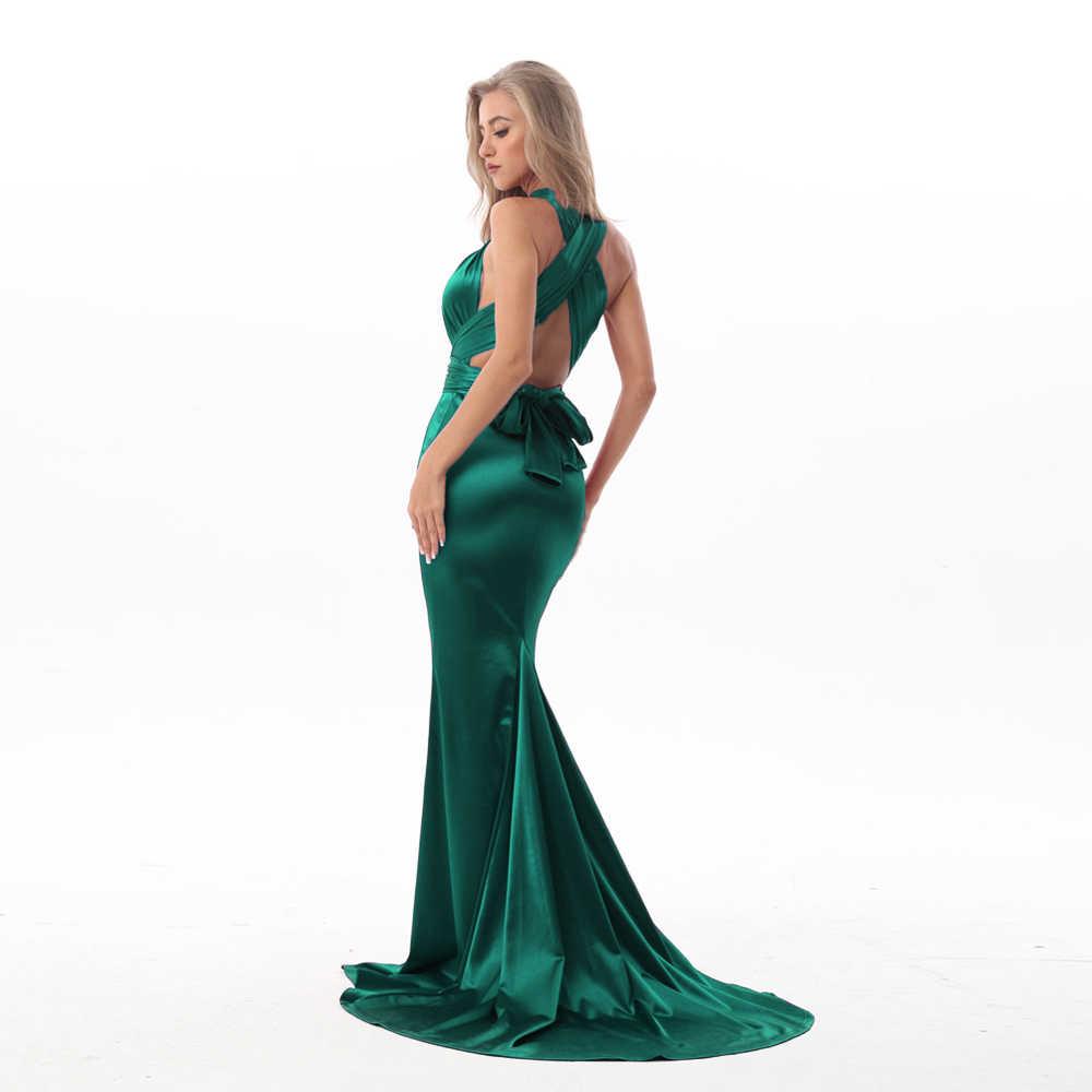 Sexy Shiny Grüne Meerjungfrau Maxi Kleid Satin Bodycon Open Back Lange  Bodenlangen Backless Krawatte Trägern Ärmellose Party Kleid