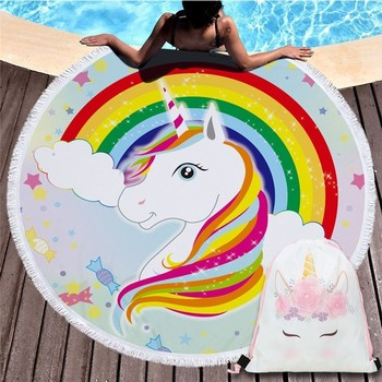 Cartoon Unicorn 150cm Round Beach Towel Wall Tapestry Picnic Blanket Portable Outdoor Sport Storage Bag Bundle Pocket Kids Gift 23