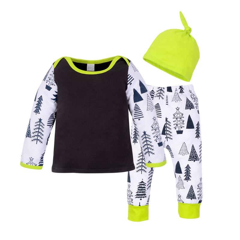 3pcs Newborn Baby Clothing Set Boy Girl Christmas Tree Printed T-shirt + Pants + Hat Outfit Set
