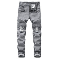KIMSERE Fashion Men Ripped Stretch Biker Jeans Hi Street Distressed Motorcycle Denim Trousers With Holes Straight Fit Moto Jeans
