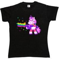 Żołnierz Jednorożec Sobie Odcienie Rainbow Maszyna Odzież Damska Koszulka Kobiety Piękny Styl Gorąca Sprzedaż Koszula Marki T Koszula Kobieta