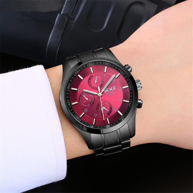 In 2018, the newly launched BOSCK gold quartz luxury brand senior military watch and 22 mm stainless steel logistics male watch. newly launched german talking watch for blind or low vison people with alarm for the elderly speaking quartz
