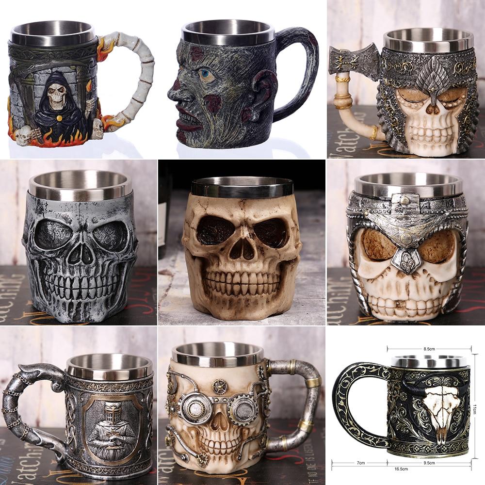 1Pcs Kreative Schädel Becher 450 ml/15 unzen Viking Ram Horned Pit Herr Krieger Bierkrug Humpen Kaffee becher Tee Tasse Halloween Bar Geschenk