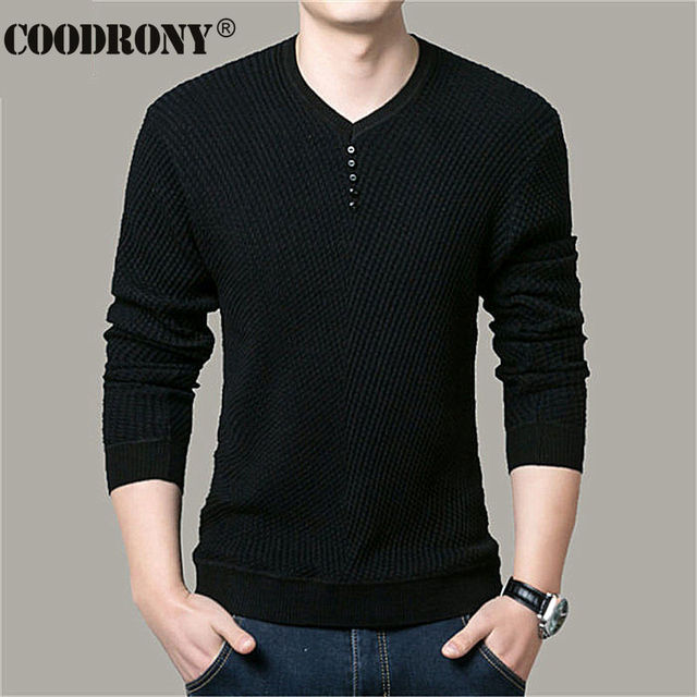COODRONY Sweater Men Casual V-Neck Pullover Men Autumn Slim Fit Long Sleeve Shirt Mens Sweaters Knitted Cashmere Wool Pull Homme 2
