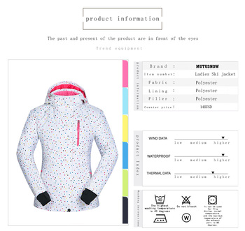 Women Ski Jacket Windproof Waterproof Breathable Thicken Clothes Female Snow Skiing Coat Winter Wear -30 Degree Snowboard jacket 4