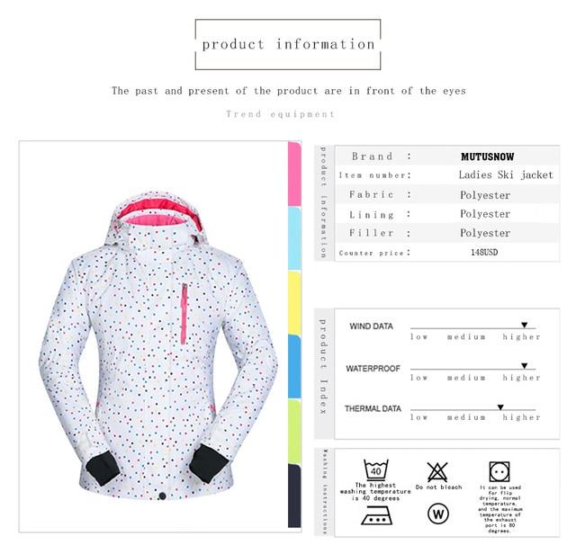 Women Ski Jacket Windproof Waterproof Breathable Thicken Clothes Female Snow Skiing Coat Winter Wear -30 Degree Snowboard jacket 4