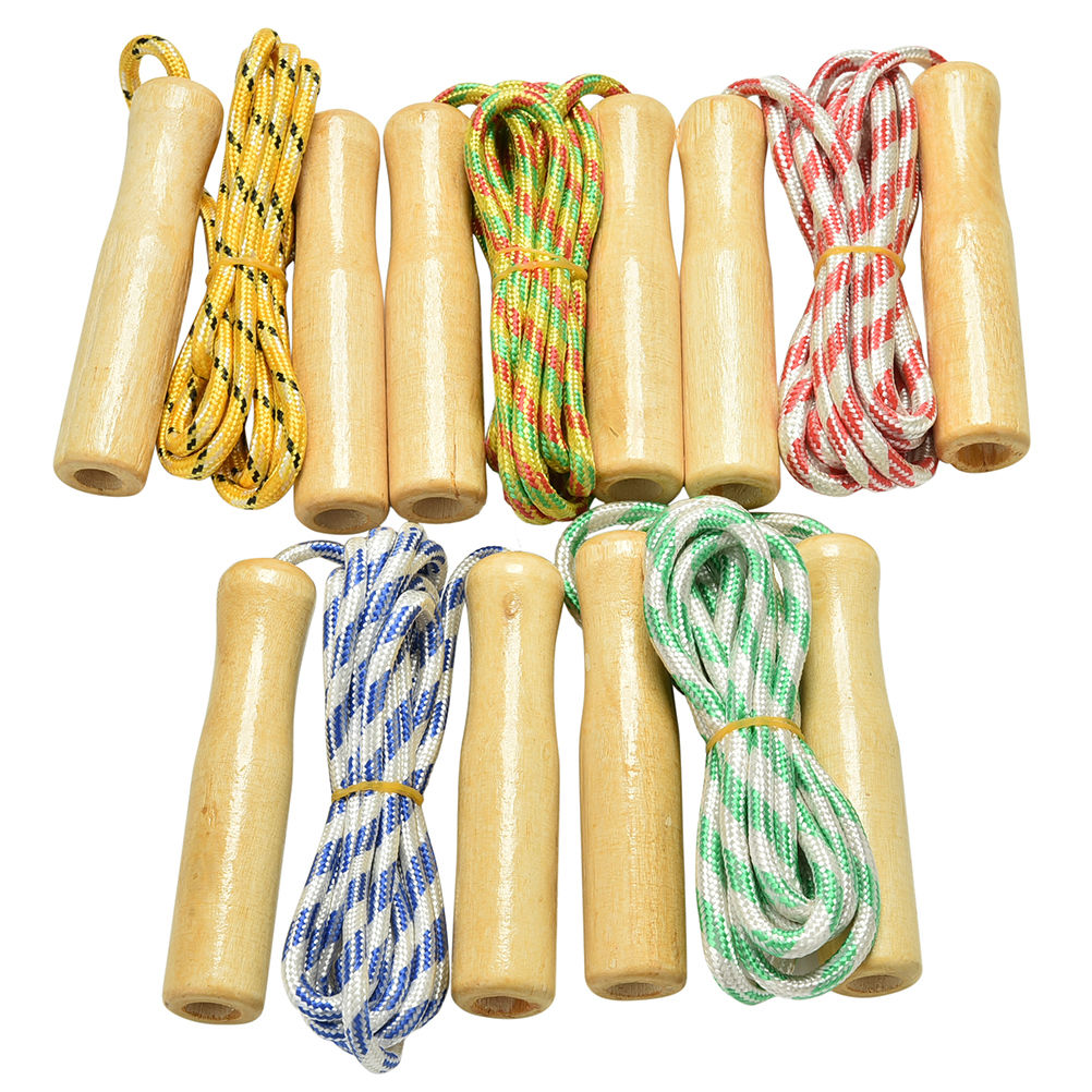 Kids Child Skipping Rope Wooden Handle Jump Play Sport Exercise Workout Toy C PR