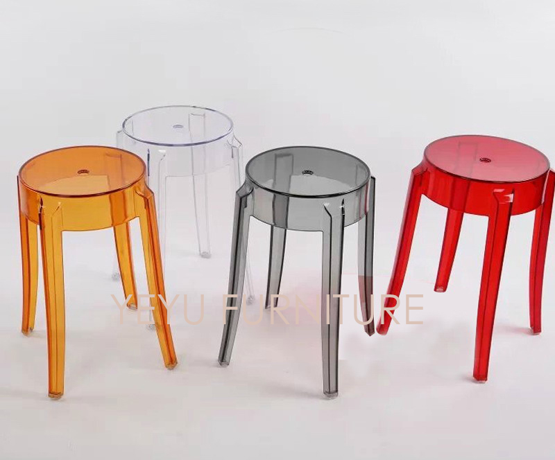 modern design transparent plastic acrylic stool stackable dining stool foot stool seat height 46cm shoe stool 2pcs