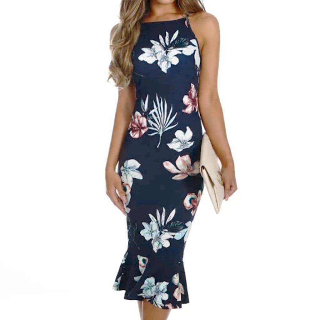 New Dresses 2019 Women Off Shouder Blooming Babe Floral Dip Hem Party Bodycon Midi Dress vestidos femininos