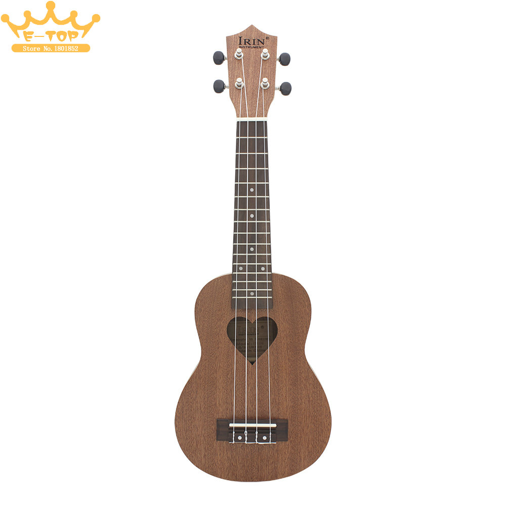 Professional Musical Instrument IRIN 21 Inch Ukelele Dark Brown Sapele Heat-shaped Sound Hole Suitable for Both Child & Adult irin professional mini 17 key accordion educational keyboard musical instrument for both kids