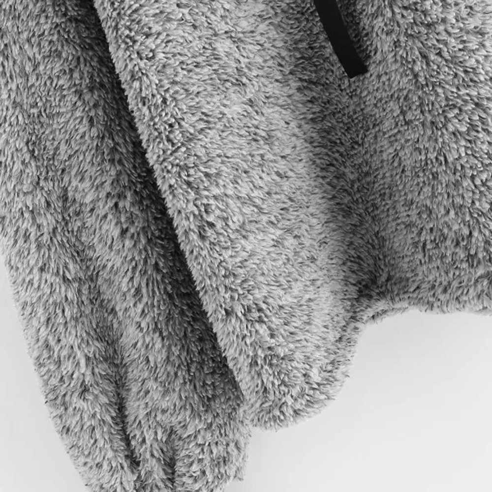 Kancoold 가을 겨울 후드 후드 womens 탑스 블라우스 2018 따뜻한 긴 소매 스웨터 가짜 모피 자르기 까마귀 점퍼 pj0905