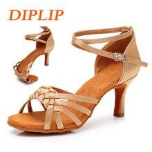 Diplip Туфли для латинских танцев для Для женщин Танго Сальса обувь девочек Бальные Танцевальные, на высоком каблуке мягкие туфли для танцев 5/7 см Бальные Обувь для танцев