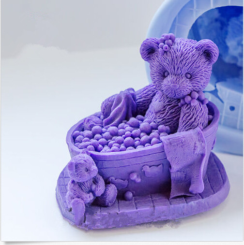 Teddy in the Bath 3d Soap Mold Silicone Candle Mold Diy Craft Bear Mold Bakeware Handmade