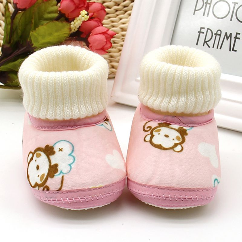 Lovely Baby Winter Printing Luo Mouth Boot Skor Mjukt Solat Håll Warm Toddler Girls Boys Crib Bebe Shoes Booties
