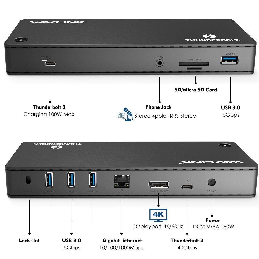 Thunderbolt 3 универсальный док станция для ноутбука 4 k @ 60 Гц дисплей USB 3,0 ВИДЕО Gigabit Ethernet до 100 Вт зарядки мощность доставки