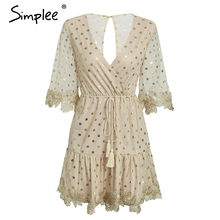 Simplee Dot sequin flare sleeve mini dress Sexy v neck backless mesh dress Embroidery high wasit lace up party dress women 2018