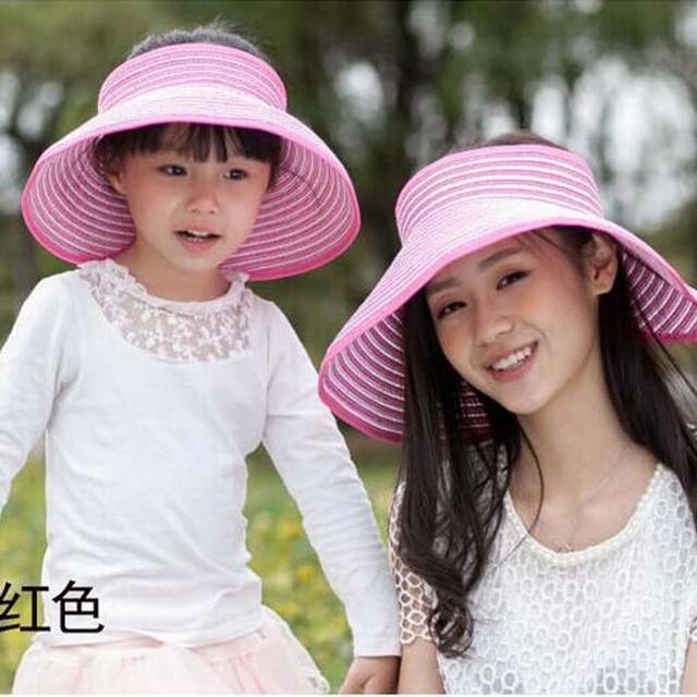 2017 Новая Мода Шляпа-Панама Летних Девочек и Мальчиков Дети соломы Cap Широкими Полями Пляж Caps Вс Шляпы Полосатый Вс шляпы