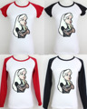 Punky Alice In Wonderland Rebelde Tatuaje Patrón de Diseño Gráfico Corta Impresa de Manga Larga Camiseta de la Muchacha de Las Mujeres Tee Tops camiseta