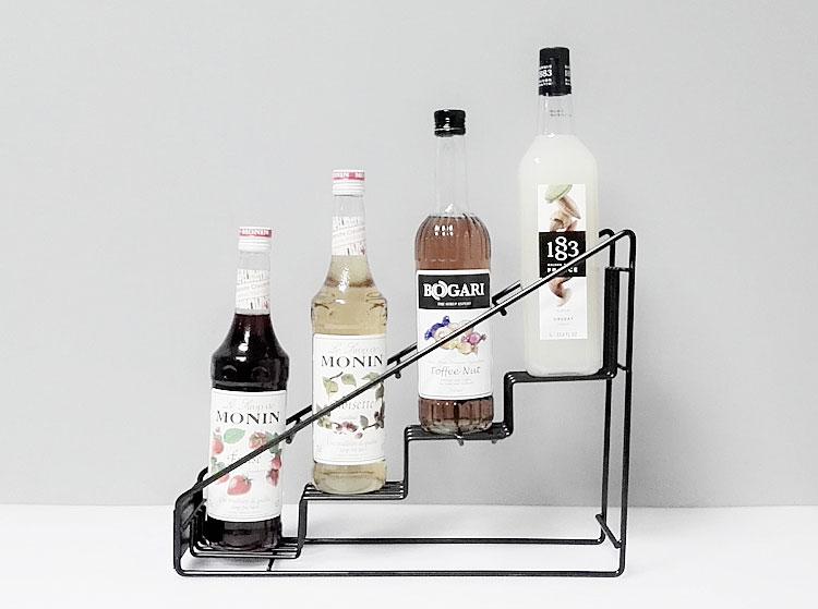 Molin 4 bottle wire diplay rack/Monin syrup rack coffee storage rack multifunction milk tea cup rack display foldable cup rack