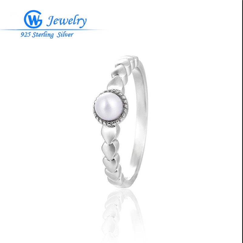 100% Natural Pearl Rings White Fashion Freshwater Pearl S925 Silver RIPY097