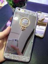 For iPhone 7 Case Luxury For Women Diamond Glitter Mirror Case With 360 Phone Ring Stand Soft Cases For iPhone 7 6 6S Plus 5 5S