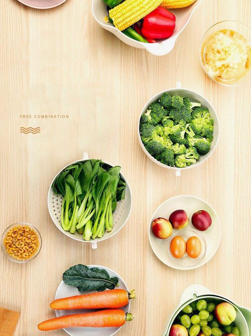 厨房洗篮 -  2PCS-微型 - 双屏 - 水果 - 蔬菜 - 塑料 - 洗手盆 - 漏水 - 排水 - 篮子 - 厨房 - 工具 -  KC1729(7)