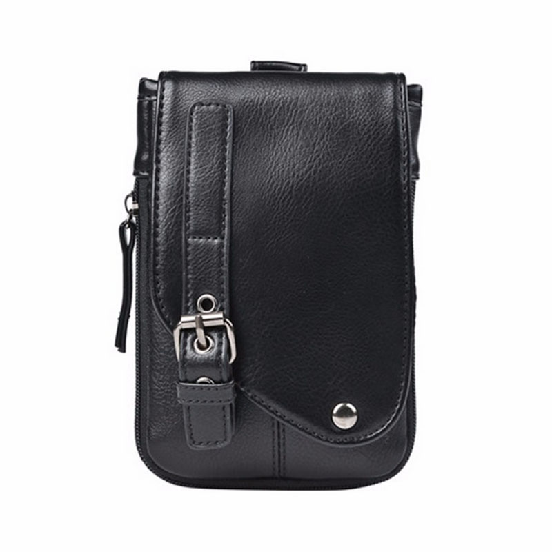 New PU Leather Cell Mobile Phone Case Small Messenger Shoulder Cross Body Belt Bag Men Fanny Waist Hook Pack teemzone men s genuine leather shoulder messenger cross body satchel day fanny zipper waist pack handbag bag wallet s4001