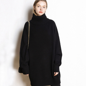 Image 2 - Autumn and winter new high neck cashmere sweater womens long loose sweater knit bottom skirt