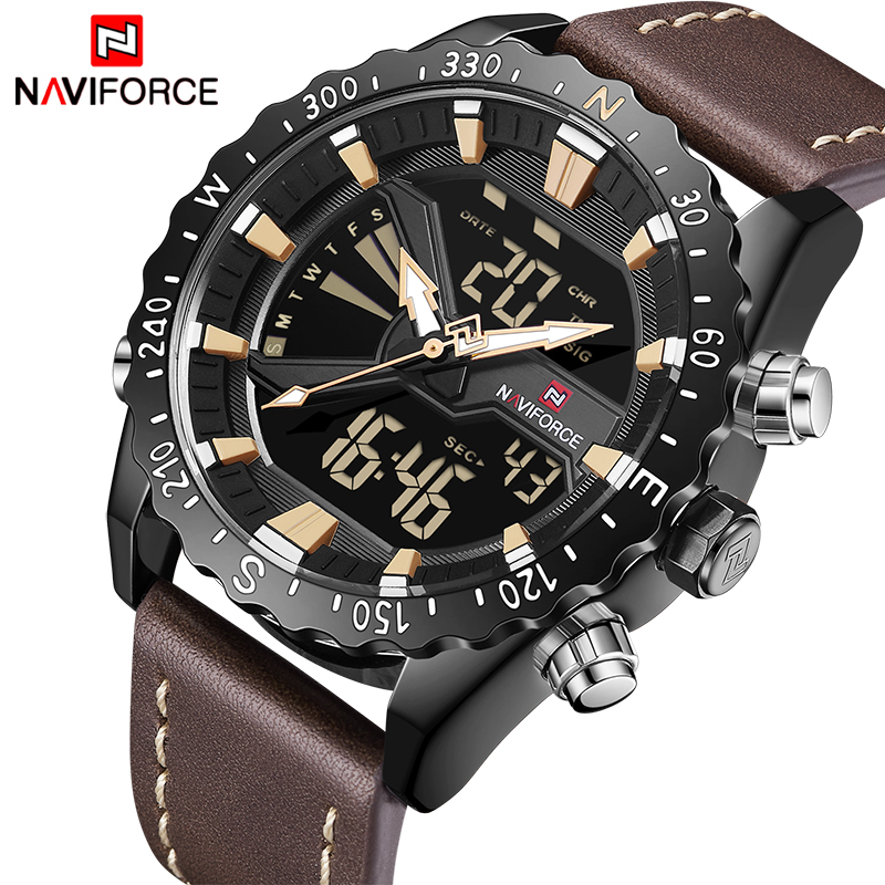 2018 New Men Watches NAVIFORCE Top Luxury Brand Army Military Sport Watch Men Leather Quartz Digital LED Clock Relogio Masculino naviforce luxury brand men sport leather watches men s quartz digital led clock male army military wrist watch relogio masculino