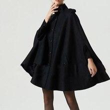 Bohoartist женские черные шерстяные накидки, пальто на пуговицах, Свободные повседневные пончо, модное осенне-зимнее пальто, женское популярное пальто-накидка