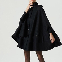 Bohoartist Women Black Woolen Cape Coats Button Loose Casual Ponchos Fashion Autumn Winter Overcoat Female Hot Top Cape Coat