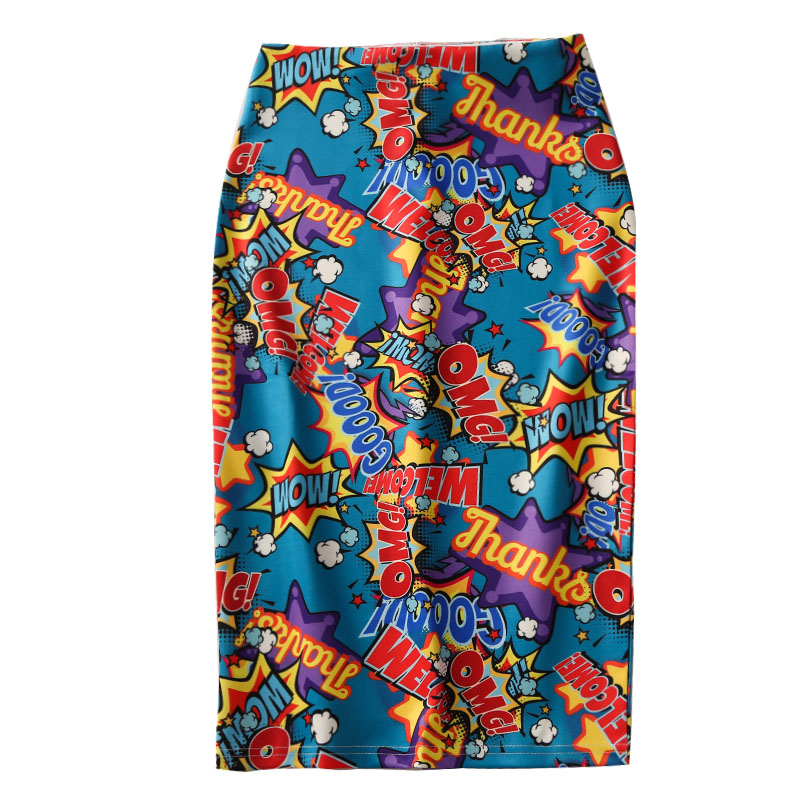 2019 Summer Women Pencil Skirts Europe Colorful OMG! Letters Printing High Waist Slim Midi Split Skirt Female Falda SP533