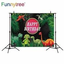 Funnytree backdrop para estúdio fotográfico do aniversário do dinossauro criança folhas original floresta photo booth fundo impresso