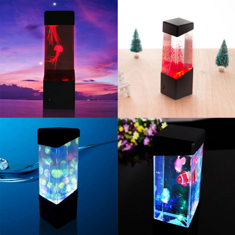 Tanbaby Dc5v Jellyfish Night Lamp Multicolor Aquarium Led Tank Desk Lamp Fish Bedside Table Night Light For Aquarium Led Night Lights