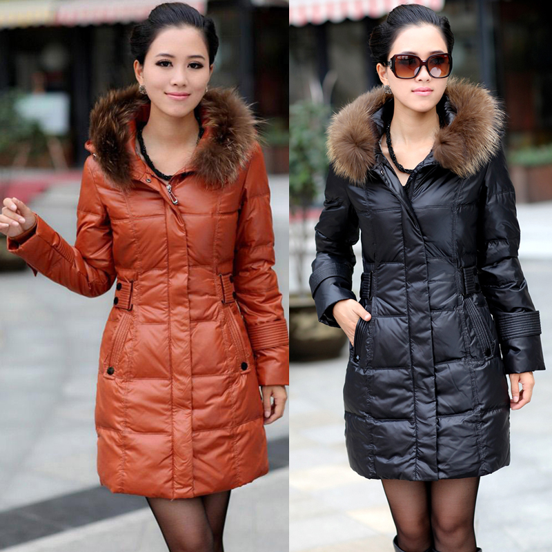 2018 woman winter duck down coat jackets with a real natural fur hood high quality parkas for lady black orange red oversize 3xl