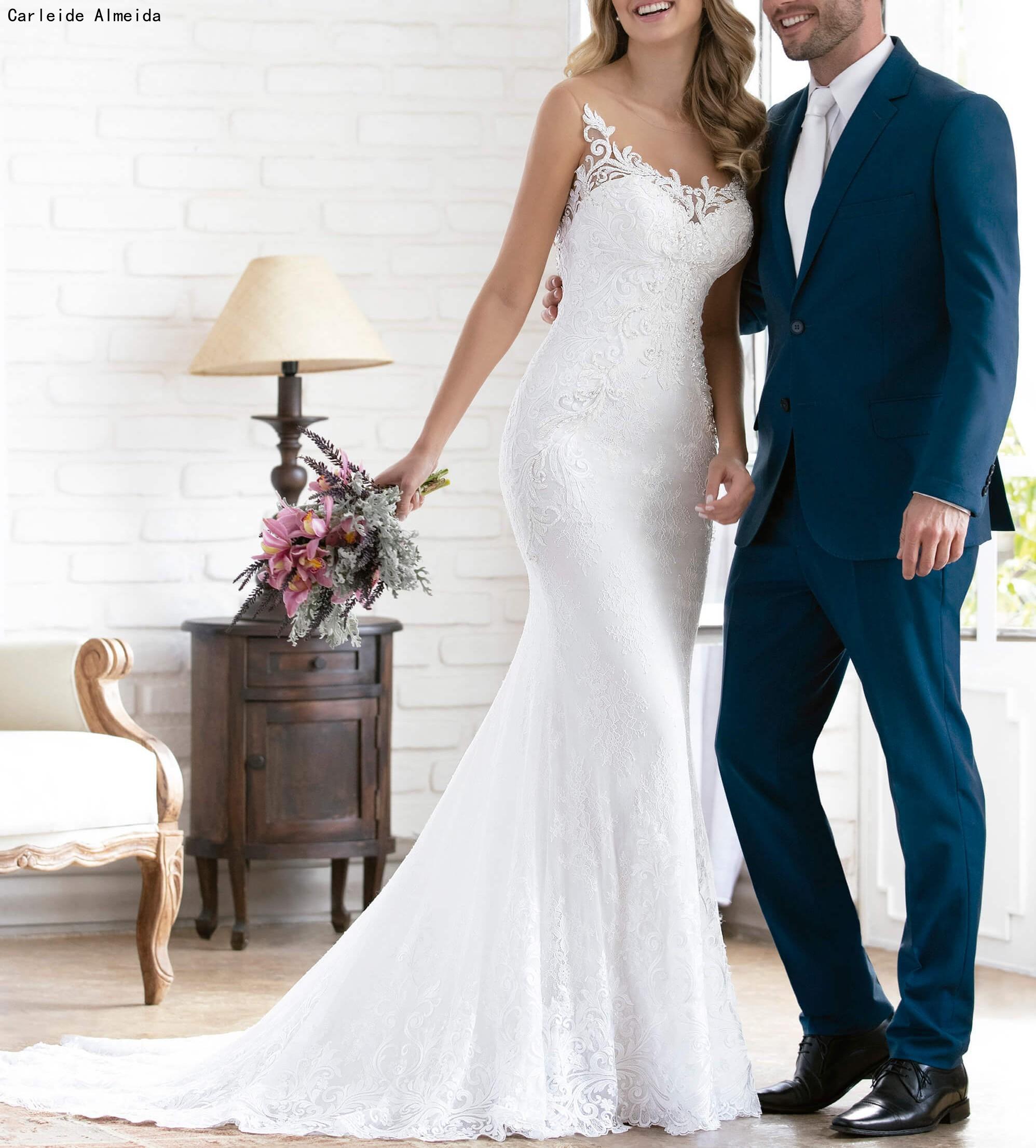 Vestido De Noiva V-back Lace Mermaid Wedding Dresses With Unique Lace Appliques Mermaid Wedding Gowns 2019 Bride Dress