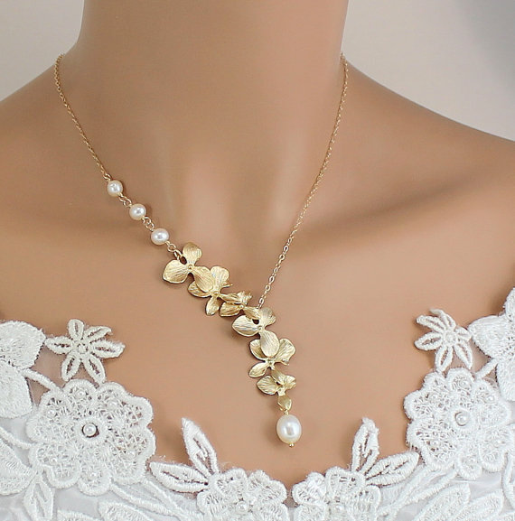 Gold Orchid Necklace Pearl Wedding Jewelry Bride Bridesmaids Gift Unique