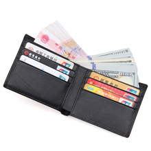 WERICHEST Black Genuine Leather Men's Wallet Slim Bifold RFID Wallets Short Card Holder Short Purse RFID Blocking Wallet Men
