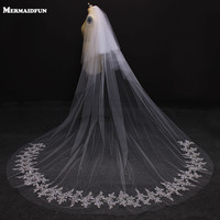 Veu De Noiva 2017 Two Layers Lace Edge 3.5 Meters Cathedral Wedding Veil White/Ivory Wedding Veil Wedding Accessories