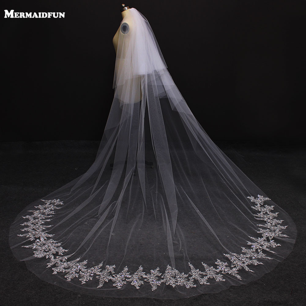 Veu De Noiva  Two Layers Lace Edge   Meters Cathedral Wedding Veil White Ivory Wedding Veil Wedding Accessories