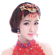 Free Shipping! Wholesale Chinese Red Tassel Wedding Hair Accessories Bridal Jewelry comb Styl