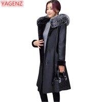 YAGENZ Leather Jacket Women Winter Coat Women High Quality Large Size 6XL 7XL Fashion Fur Collar