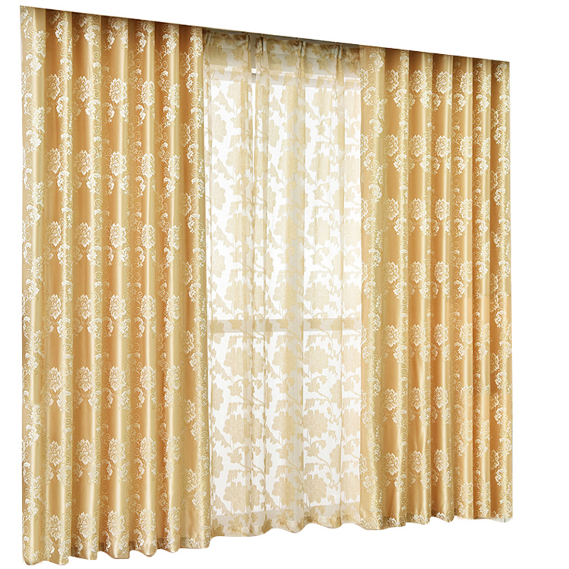 European Golden Royal Luxury Curtains Jacquard for Bedroom Window Curtains for Living Room Elegant Drapes European Curtains