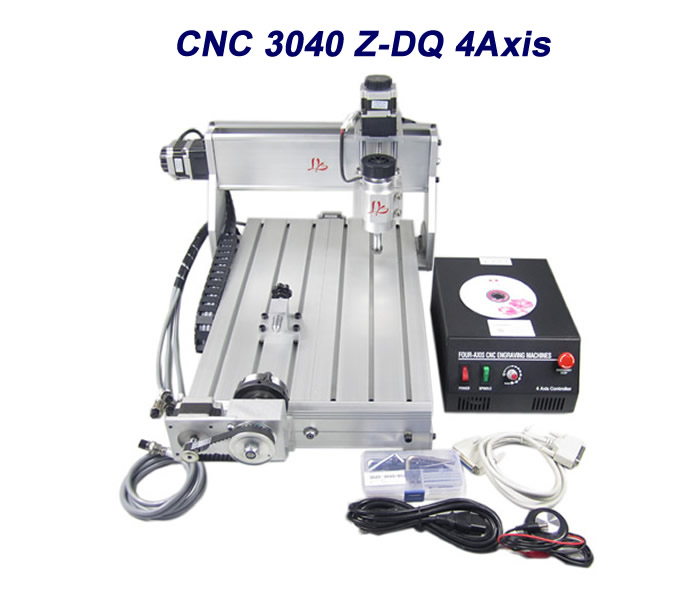 No tax to EU countries 3040Z-DQ CNC 4 Axis engraving machine with 4th rotary axis for 3d cnc wood metal cutting no tax to russia 4 axis cnc engraving machine 6040 300w cnc router cnc lathe with rotary axis for wood carving can do 3d