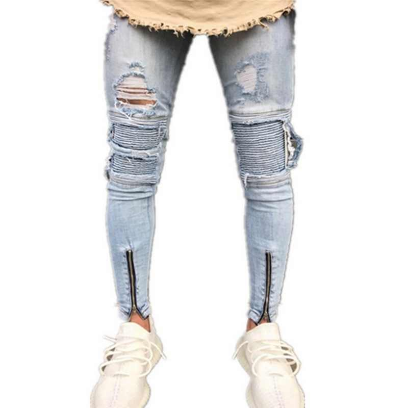 de3e2b8c0437 Detail Feedback Questions about Laamei 2019 Designer Slim Fit Ripped Jeans  Men Distressed Denim Joggers Knee Holes High Street Men Washed Destroyed  Jean Z35 ...