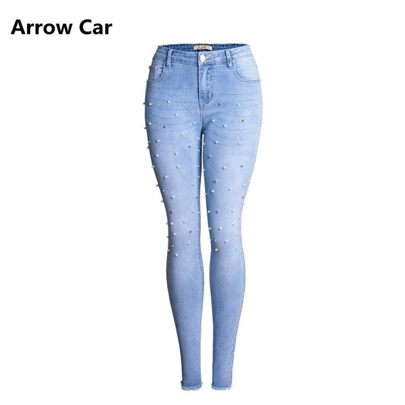 Flèche De Voiture Plus La Taille Jeans Femmes Avec Clouté Perles Femme Élégant Extensible Denim Maigre Pantalon Pantalon Pour Les Femmes